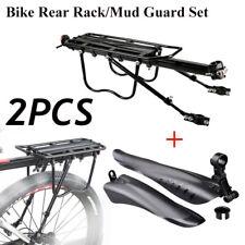 Rear Bicycle Pannier Rack Carrier Bag Luggage Mountain Bike Mudguard Fender Set