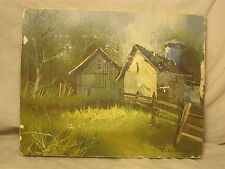 "vintage signed J. Newton oil painting canvas farm barn country scene 8"" x 10 *"