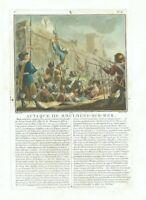 17TH OLD PRINT ANTIQUE ORIGINAL COLOR GRAVURE ATTACK BOULOGNE-SUR-MER JEAN 1788