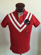 NWT Men's Polo Ralph Lauren S/S Custom Fit Rugby Polo Shirt Red White - Large