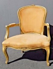 Vintage French Provincial Carved Wood Gold Velvet Arm Chair