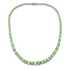 Sterling Silver 47ct. Peridot and Blue Topaz Luxury Riviera Necklace