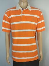 Polo Ralph Lauren Orange White Striped Padded Rugby Shirt Mens Size 2XL 2XLarge