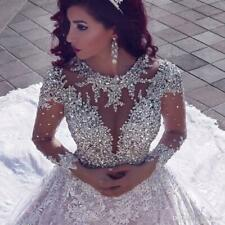 Kathedrale Brautkleider Luxus Perlen Dubai Arabisch Langarm Brautkleider NEU