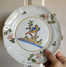 Belle assiette faience XVIII-XIXéme décor oiseau  Lorraine ou Haute-Saône ?