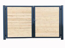 Einfahrtstor Premium Garten-Tor 2-Flügeltor 250x160cm Anthrazit Holz Symmetrisch