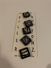 Vintage Killer Buttonz Button Covers Faux Stone Square Set New