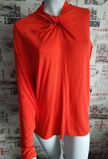 Marks&Spencer Orange Knot Front Round Neck Long Sleeves Top Size 16 UK