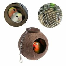Natural Coconut Shell Bird Nest House Hut Cage Feeder Toy For Pet Parrot Budgie