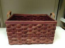 Woven Wicker Storage Organizer Toys Bathroom Kitchen Basket Red 18x13x10