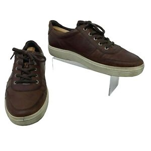 Ecco Leather Golf Shoes Men's Size 45 Brown Lace Up Spikeless Athletic Sneakers