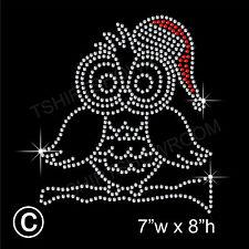 Christmas Owl Rhinestone/Diamante Transfer Hotfix Iron on Motif + free gift