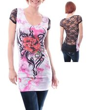 Stretch Pink White Tattoo Print Rose Lace Blouse Top w Rhinestones Small (3-5)