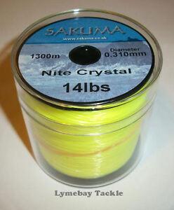 Sakuma Nite Crystal Yellow Line - 4oz Spool - All Sizes - Sea Fishing, Bulk Line