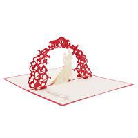 3D Greeting Card Birthday Anniversary Valentine's Day Wedding Card Red AL