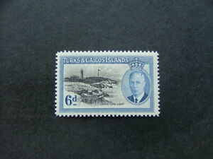 Turks & Caicos Islands KGVI 1950 6d black & blue SG228 LMM