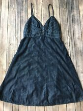 7 For All Mankind Jean Dress Women M 7FAM Dark Wash Denim Strappy Sun Jumper