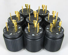 * Lot of 8 * Hubbell 2P3W 30A 250V AC Twist-Lock Male Plugs Nema L6-30P black