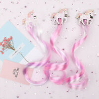 38CM Glitter Pink Unicorn Girls Shiny Hair Clips Wig Cartoon Hairgrips Princess