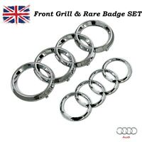 AUDI GLOSS SILVER FRONT & REAR 273x94mm 193x66mm BADGE EMBLEM A3 A4 A5 A6 Sline