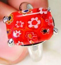 Italian Murano Glass & 925 Silver Handmade Designer Ring Size O & gift box