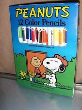 Snoopy Peanuts 12 Color Pencils - Peanuts- Vintage Stock - Unused New Condition