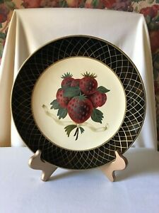 """Vintage """"Raymond Waites"""" Hand Painted Decorative Plate with Strawberries"""