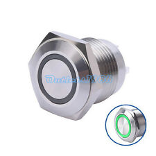 16mm 3V Green LED Round Metal Momentary Push Button Switch 1NO with Resistor 12V