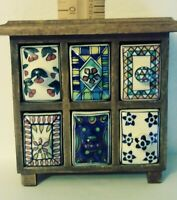 VINTAGE WOOD APOTHECARY SPICE CABINETwith Hand-Painted PORCELAIN DRAWERS