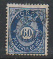 Norway - 1878, 60 ore Deep Blue stamp - F/U - SG 63