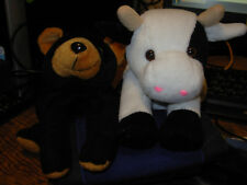 Lot of 2 Beanpets by Kuddle Me toys cow and bear.