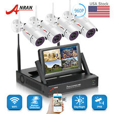 "960P 4CH Wireless Security Camera System WIFI NVR Kit 7""Monitor Surveillance HD"