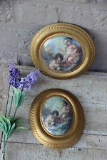 PAIR Saint etienne porcelain Cherun putti porcelain romantic miniature medaillon