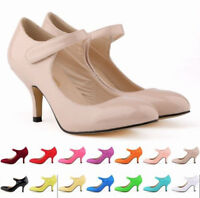 Ladies Round Toe kitten heels Strap Patent Leather Wedding Dress Shoes Grace New