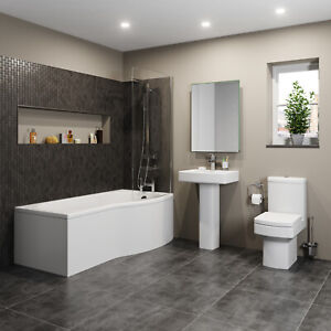 Bathroom Suite P Shaped Bath RH Screen Toilet WC Basin Sink Full Pedestal Square