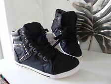 high top black trainers size 4 embellished lightweight new boxed
