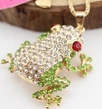 Hot Betsey Johnson Rhinestone Fashion frog lady sweater Enamel necklace