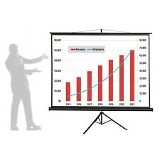 """100"""" Auto-Lock Projector Projection Screen Pull-up 4:3 w/ Tripod Stable Stand"""