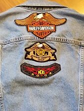 Men's Levi Trucker Denim Jacket with Hog Owners Harley-Davidson Patches - Large