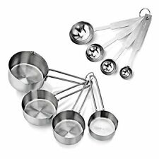 Stainless Steel Measuring Cups And Spoons Metal Set Kitchen Baking Tools 8 Piece