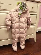 BURBERRY Hooded SNOWSUIT with Snap-On Mittens & Booties, Ice Pink size 12 months