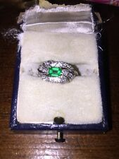 Antique Vintage Art Deco Platinum Emerald Diamond Ring Gorgeous  Estate Find