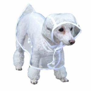 Bunty Dog Puppy PVC Waterproof Clear Transparent Rain Coat Jacket Hood Hooded