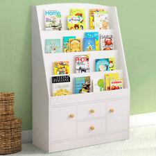 White Bookshelf Kids Book Shelves Unit Bookcase 4 Drawers Sideboard Cube Storage