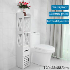 Tall Bathroom Toilet Storage Rack Cabinet Shelf Organizer Paper Holder White USA