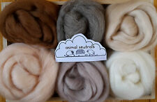 Merino & Shetland Wool roving/ tops / Felting,needle felting, animal colours 60g