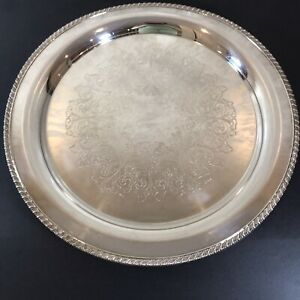 """Vintage Oneida Silver Plate Tray Large Round Serving 16 3/4"""" D"""