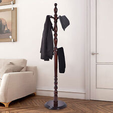 2 -Tier Wood Hat Coat Rack Hanger Tree Stand Hallway Entry Home Furni W/ 8 Hooks