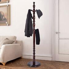 2 -Tier Wood Hat Coat Rack Hanger Tree Stand Hallway Entry Home Furni W/ 8 Hooks