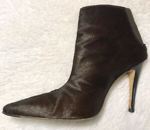 MANOLO BLAHNIK Brown Calf Hair Short Ankle Pointed Toe Heel Booties Boot 37 7.5